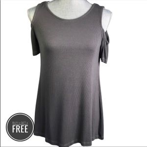 Michael Stars STYLE 889 Grey Cold Shoulder Top OS